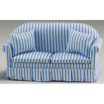 Blue & White Striped Sofa w/ Pillows | Mary\'s Dollhouse Miniatures
