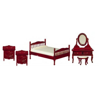 Double Bed Furniture Set - 5pc - Mahogany