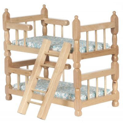 Oak Bunk Bed w/ Linens & Ladder