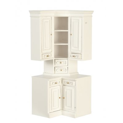 Kitchen Cabinet - Corner - White | Mary\'s Dollhouse Miniatures