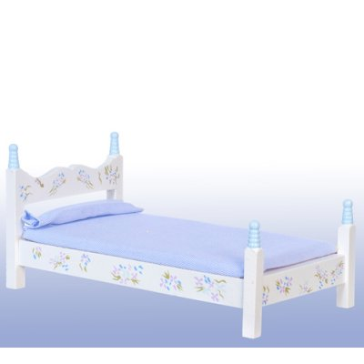 Blue & White Floral Single/Twin Bed w/ Linens