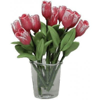 12 Pink Tulips in Oval Crimped Vase