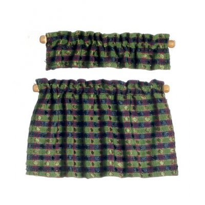 Cafe Curtains Green/Blue Plaid