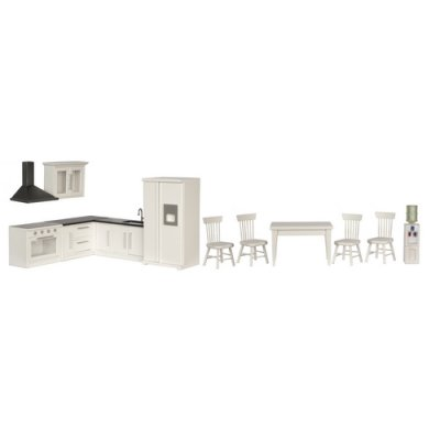 Kitchen Set - 12pc - White w/ Black Counters