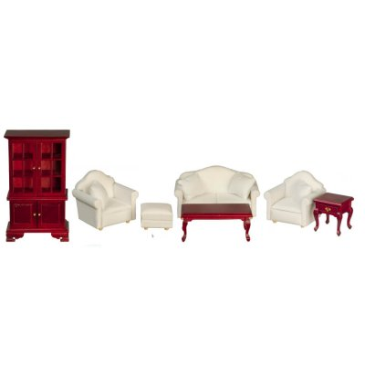 Living Room Set - Mahogany & White - 7pc