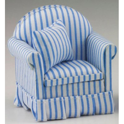 Blue & White Striped Chair w/ Pillow