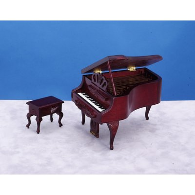 Mahogany Carved Grand Piano w/ Stool