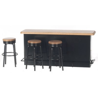 1950s Serving Counter & 3 Stools - Black & Oak