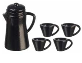 Black Enamelware Coffee Set 5pc