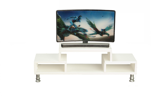 Curved Modern TV & White Console