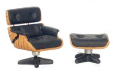 1/2in Scale Eames Chair & Ottoman Set 2pc