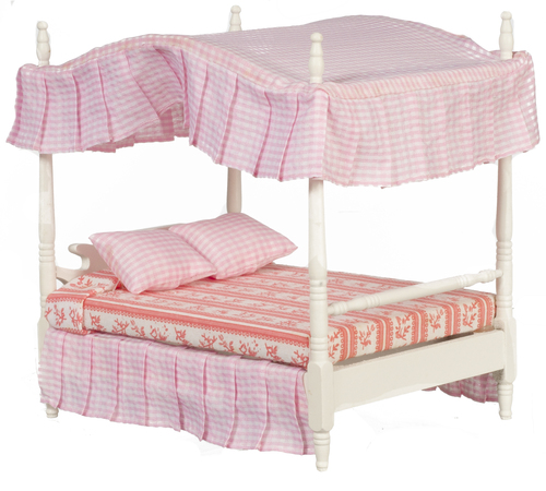 Double Canopy Bed - White/Pink