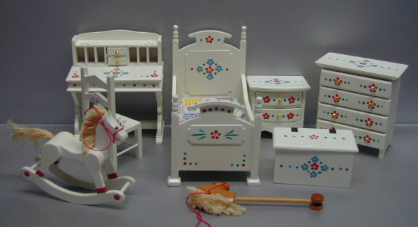 Toddler Furniture Set Cream Handpainted 8pc