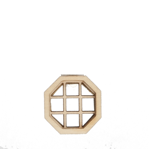 1/2in Scale Crosshatch Octagon Non-Working Dollhouse Window