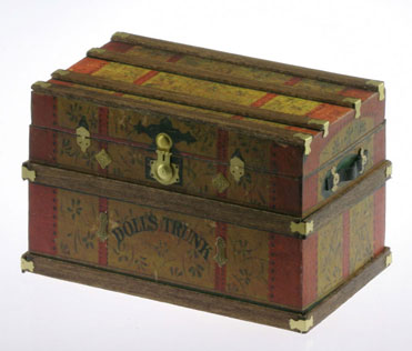 Lithograph Wooden Trunk Kit Dolls Trunk