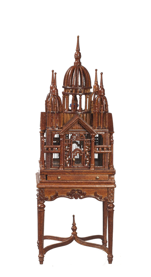 Victorian Birdcage on Table - Walnut