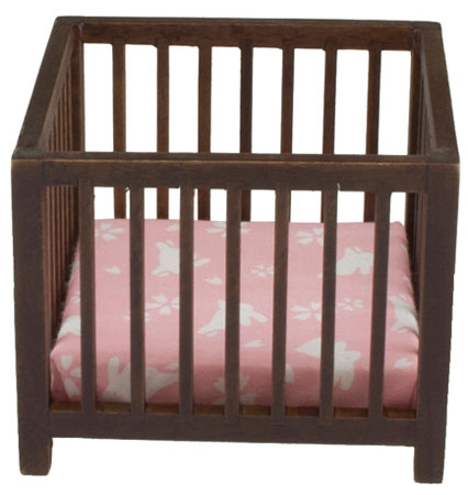 Baby Playpen - Walnut - Pink Fabric