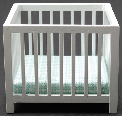 Baby Playpen - White - Blue Fabric