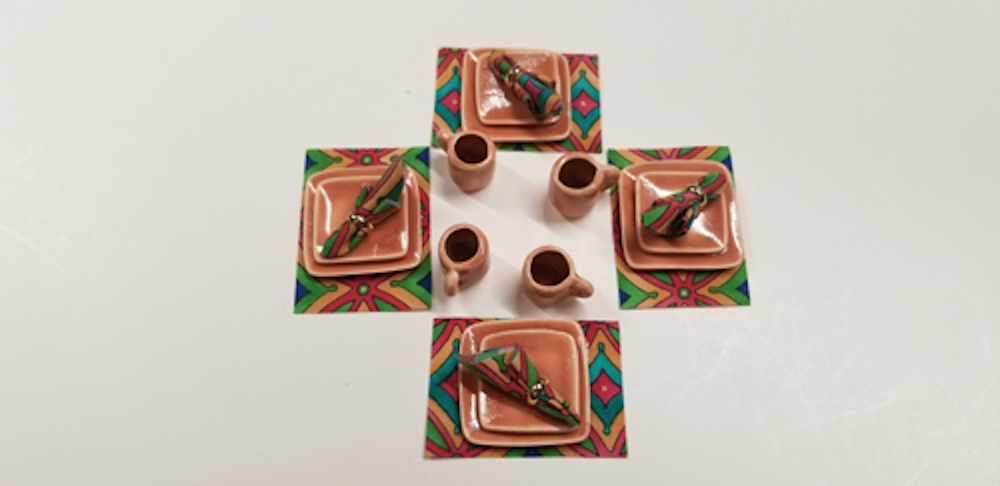 12 Piece Square Dinner Set Indian Summer