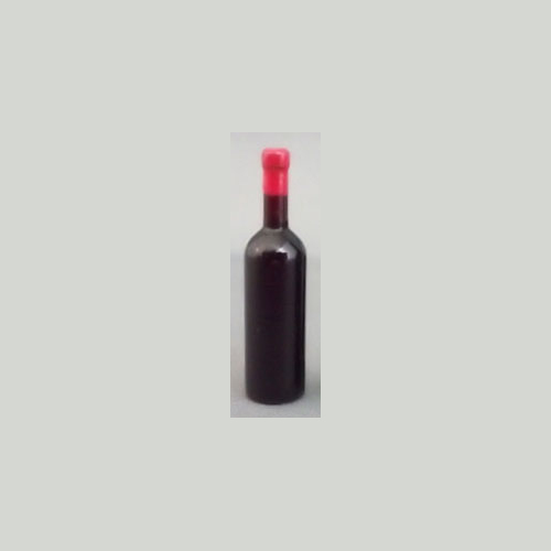 Black Wine Bottle w/ Red Lid - Unlabeled