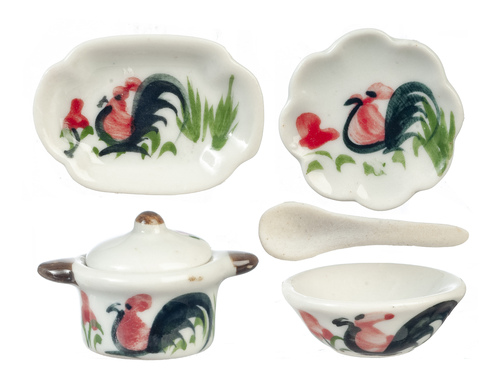 Ceramic Dinner Set Chickens 6pc