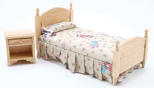 Single Bed & Nightstand - Oak