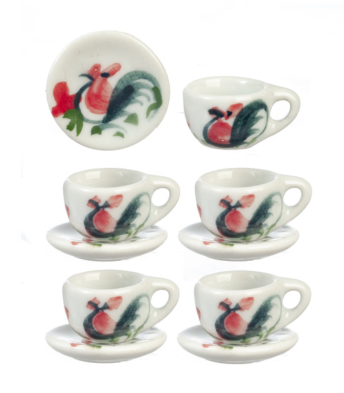 Ceramic Cups & Saucers Chickens 10pc