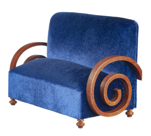 Art Deco Settee - Blue & Walnut