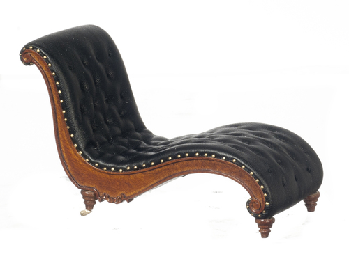 Art Deco Chaise Lounge Chair Black - Walnut