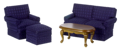 Navy Small Living Room Set - 4pc