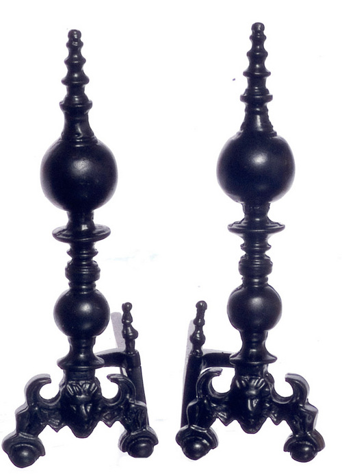 Fireplace Andirons - Black  - 1pr