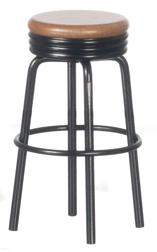 1950s Black Oak Stool