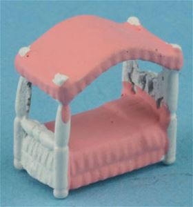 1/4in Scale Canopy Bed - White & Pink