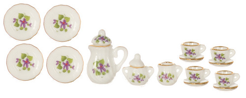 17pc Purple Floral Tea Set