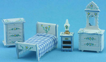 1/4 Inch Scale Bedroom Set White w/ Blue