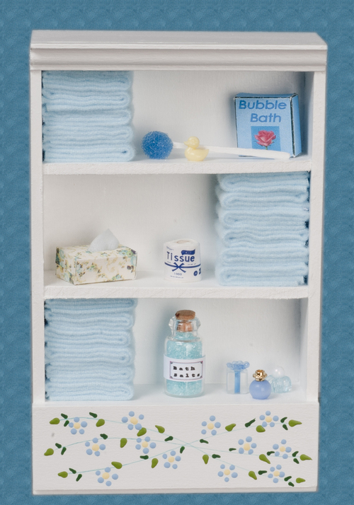 Bathroom Cabinet White & Light Blue w/ Accessories