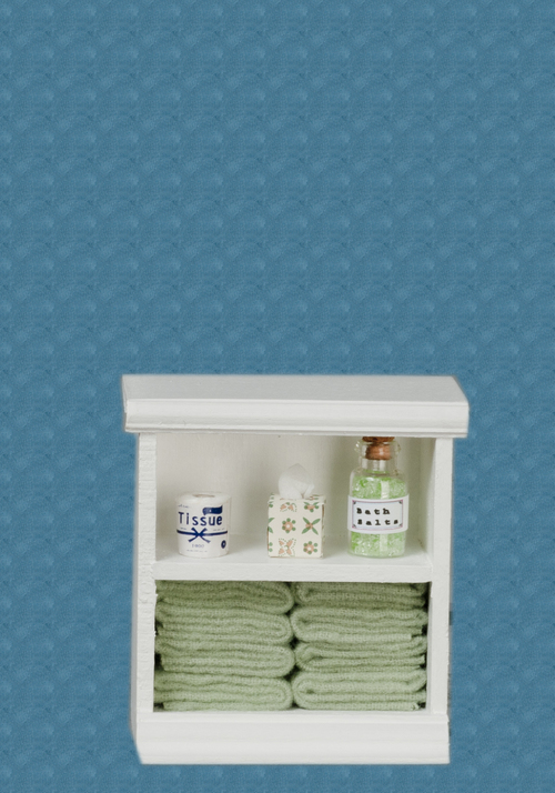 Small Bathroom Cabinet White & Light Green w/ Accessories