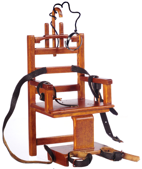 Old Sparky Miniature Electric Chair - Walnut