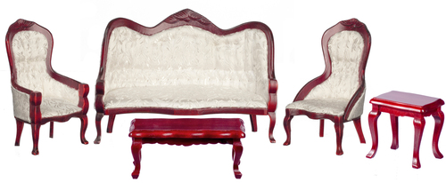 Mahogany & White Victorian Living Room Set - 5pc