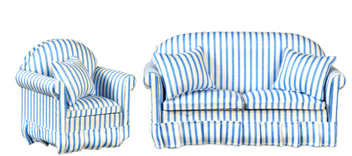 Fabulous Blue White Striped Sofa Chair Living Room Set 2Pc Creativecarmelina Interior Chair Design Creativecarmelinacom
