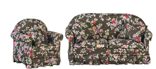 Black Floral Sofa & Chair Living Room Set - 2pc