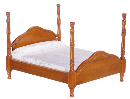 Walnut Cannonball Bed w/ Assorted Linen Set