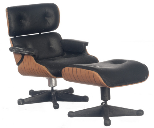 Black Lounge Chair w/ Ottoman Eames Circa 1956