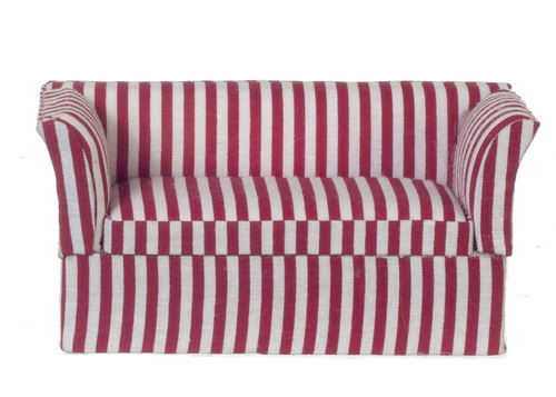Contemporary Loveseat Red & White Stripe