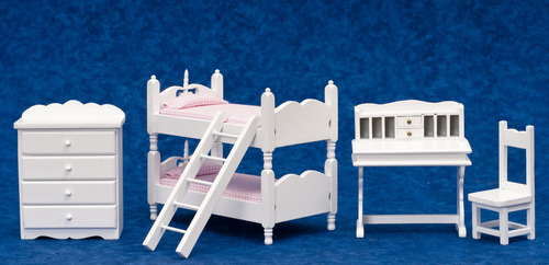 White Bunk Bed w/ Pink Linens