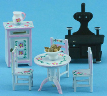 1/4in Scale White Kitchen Set Hand Painted