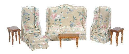 Floral Print Living Room Set w/ Walnut Tables 7pc
