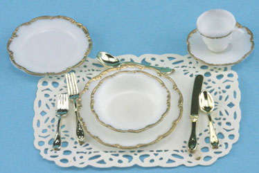 1 Place Setting - Dishes - Silverware - Placemat