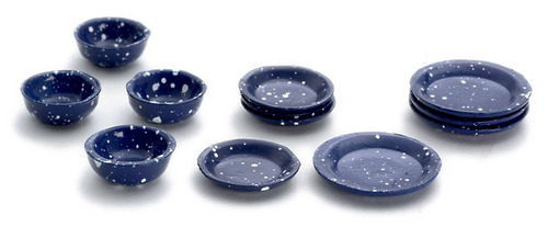 Blue Enamelware Dishes 12pc