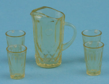 Crystal Pitcher & 4 Tumblers-Amber KIT